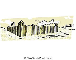 alto, bandera, fortaleza voladora, ilustración