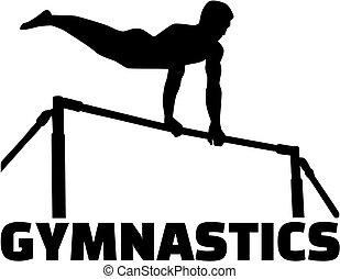 alto, barra de gimnasia, hombre