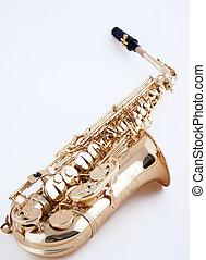 alto, blanc, saxophone, fond
