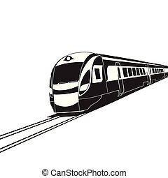alto, blanco, tren, velocidad, plano de fondo