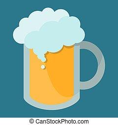 alto, blu, tazza, stile, fondo, vettore, illustrazione, birra, isolato, schiuma, appartamento