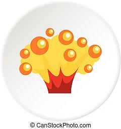 alto, círculo, explosión, potencia, icono