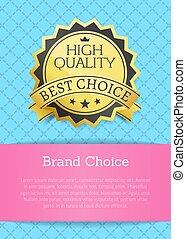 alto, calidad, mejor, marca, opción, vector, ilustración