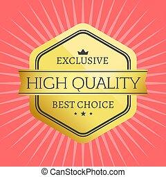 alto, calidad, mejor, opción, estampilla, prima, etiqueta, premio