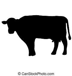 alto, calidad, original, ilustration, de, vaca, silueta