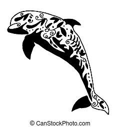 alto, calidad, original, vector, delfín, tatoo