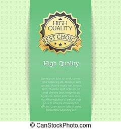 alto, calidad, premio, mejor, opción, vector, bandera, texto