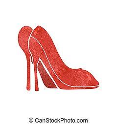 alto, cartone animato, scarpe, tallone, retro