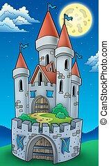 alto, castillo, noche, vista