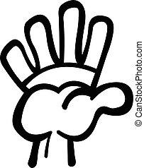 alto cinque, cartone animato, mano