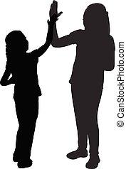 alto cinque, gioco, bambini, silhouette