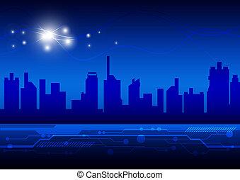 alto, città, tecnologia