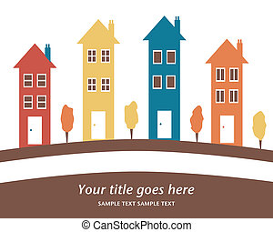 alto, coloridos, houses., fila