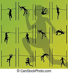 alto, concetto, ragazze, illustrazione, salto, silhouette, vettore, collezione, fondo, attivo, atletica, sport, donne