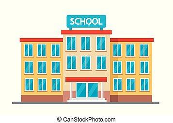 alto, costruzione, scuola, vettore, illustrazione