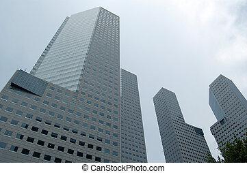 alto, costruzioni, contro, cielo nuvoloso