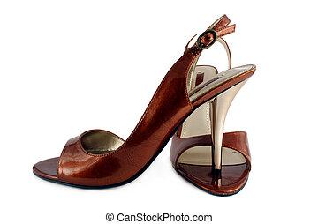 alto, damas zapatos, tacón