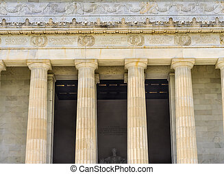 alto, dc, colunas, memorial lincoln, abraham, estátua, washington