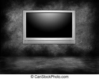 alto, definição, televisão plasma, penduradas