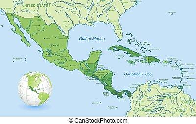 alto, dettaglio, america centrale, verde, vettore, mappa,...