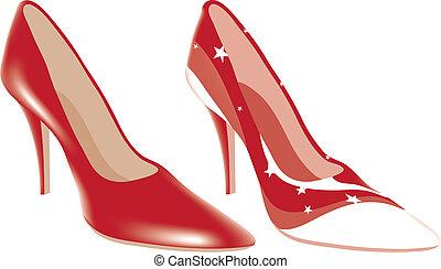 alto, diferente, cores, sapatos, calcanhar