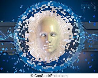 alto, dissolvere, fondo, testa, maschera, immagine concettuale, tecnologia