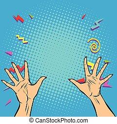 alto, donna, cinque, dita, mani