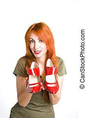 alto, donna, scarpe, tallone