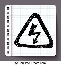 alto, doodle, voltagem, sinal