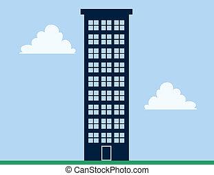 alto, edifício apartamento