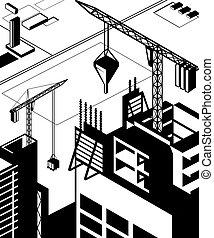 alto, edifícios, construção
