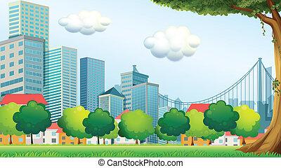 alto, edificios, árboles