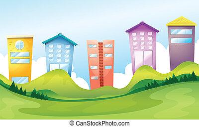 alto, edificios, a través de, el, colinas