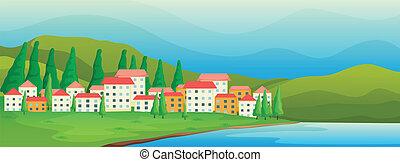 alto, edificios, cerca, el, río