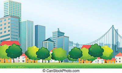 alto, edificios, en la ciudad