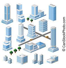 alto, edificios, vector