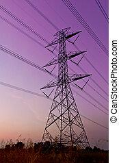 alto, eléctrico, voltaje, pilón de la energía
