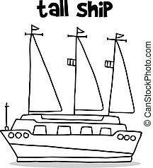 alto, empate, barco, transporte, mano