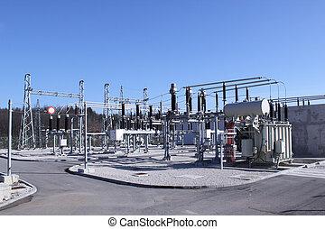 alto, equipamento, elétrico, voltagem