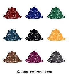 alto, escarpado, montaña, con, pasto o césped, el, colores oscuros, con, agudo, spikes.different, montañas, solo, icono, en, negro, estilo, vector, símbolo, acción, illustration.