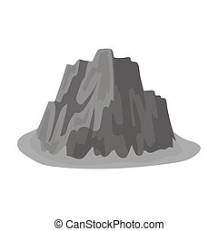 alto, escarpado, montaña, con, pasto o césped, el, colores oscuros, con, agudo, spikes.different, montañas, solo, icono, en, monocromo, estilo, vector, símbolo, acción, illustration.