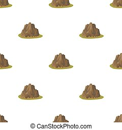 alto, escarpado, montaña, con, pasto o césped, el, colores oscuros, con, agudo, spikes.different, montañas, solo, icono, en, caricatura, estilo, vector, símbolo, acción, illustration.