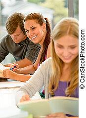 alto-escola, estudo, biblioteca, estudante, adolescentes, leitura