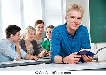 alto, estudantes, escola