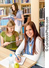 alto, estudar, escola, menina jovem