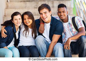 alto, estudiantes, escuela, grupo