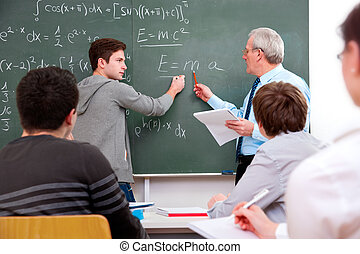 alto, estudiantes, maestro