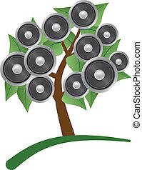 alto-falante, árvore