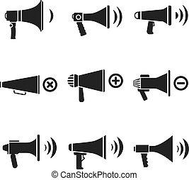 alto-falante, áudio, megafone, ícones, volume, vetorial, orador
