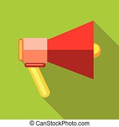 alto-falante, ícone, estilo, vermelho, apartamento